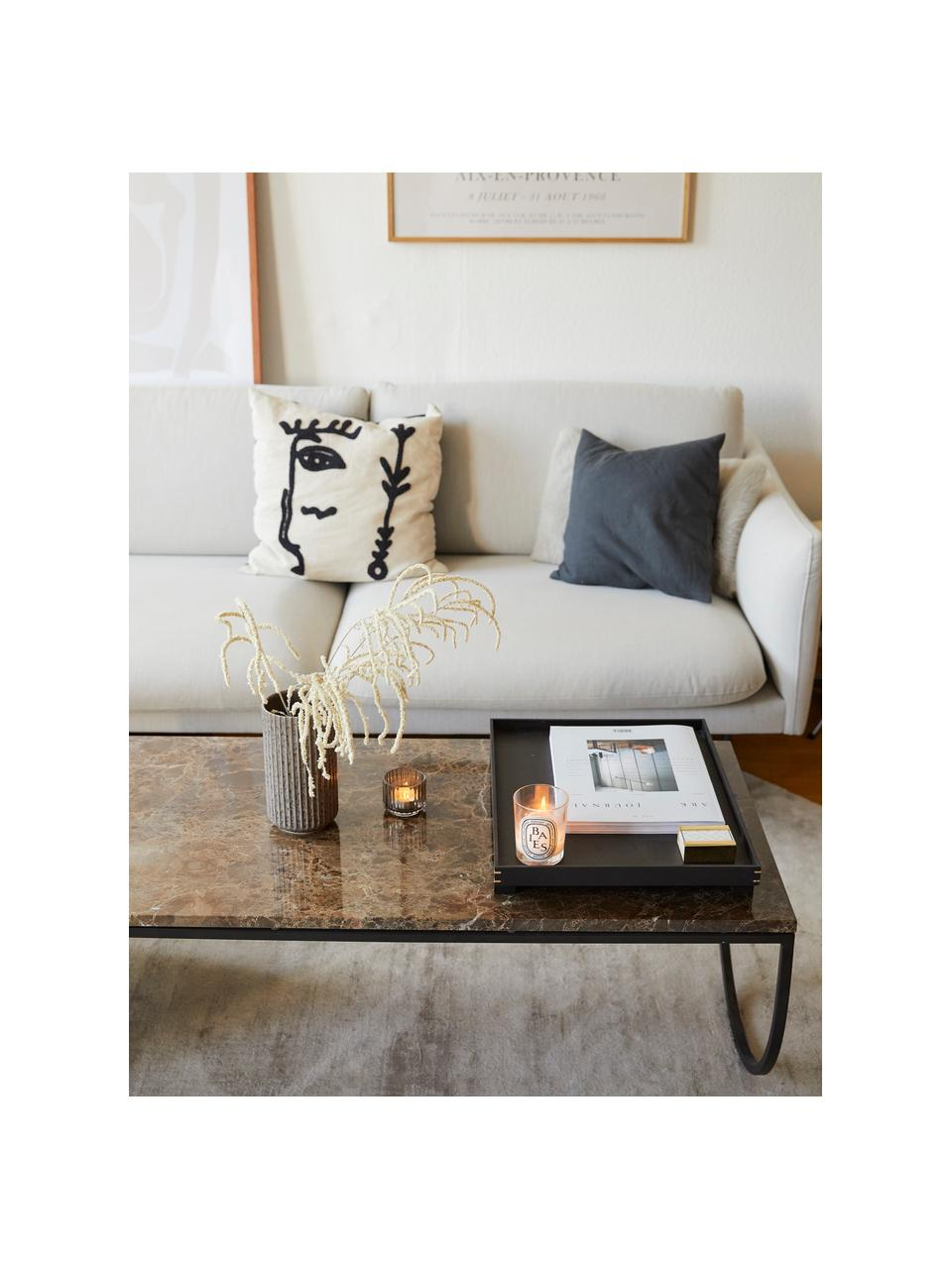 Bank Moby (3-zits) in beige met metalen poten, Bekleding: polyester, Frame: massief grenenhout, Poten: gepoedercoat metaal, Geweven stof beige, B 220 x D 95 cm
