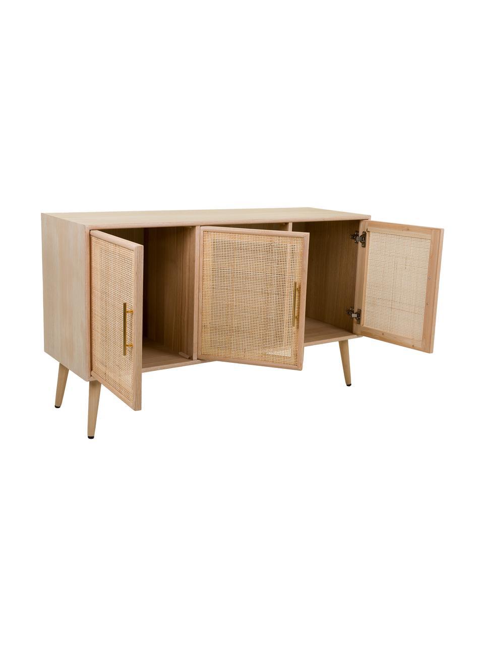 Komoda z drewna Cayetana, Korpus: płyta pilśniowa średniej , Nogi: drewno bambusowe, lakiero, Brązowy, S 120 x W 71 cm