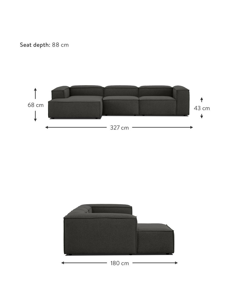 Narożna sofa modułowa Lennon, Tapicerka: 100% poliester Dzięki tka, Stelaż: lite drewno sosnowe, skle, Nogi: tworzywo sztuczne Nogi zn, Antracytowy, S 327 x G 180 cm