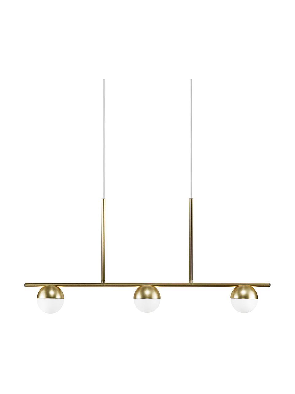 Grande suspension moderne dorée Contina, Blanc, couleur laitonnée