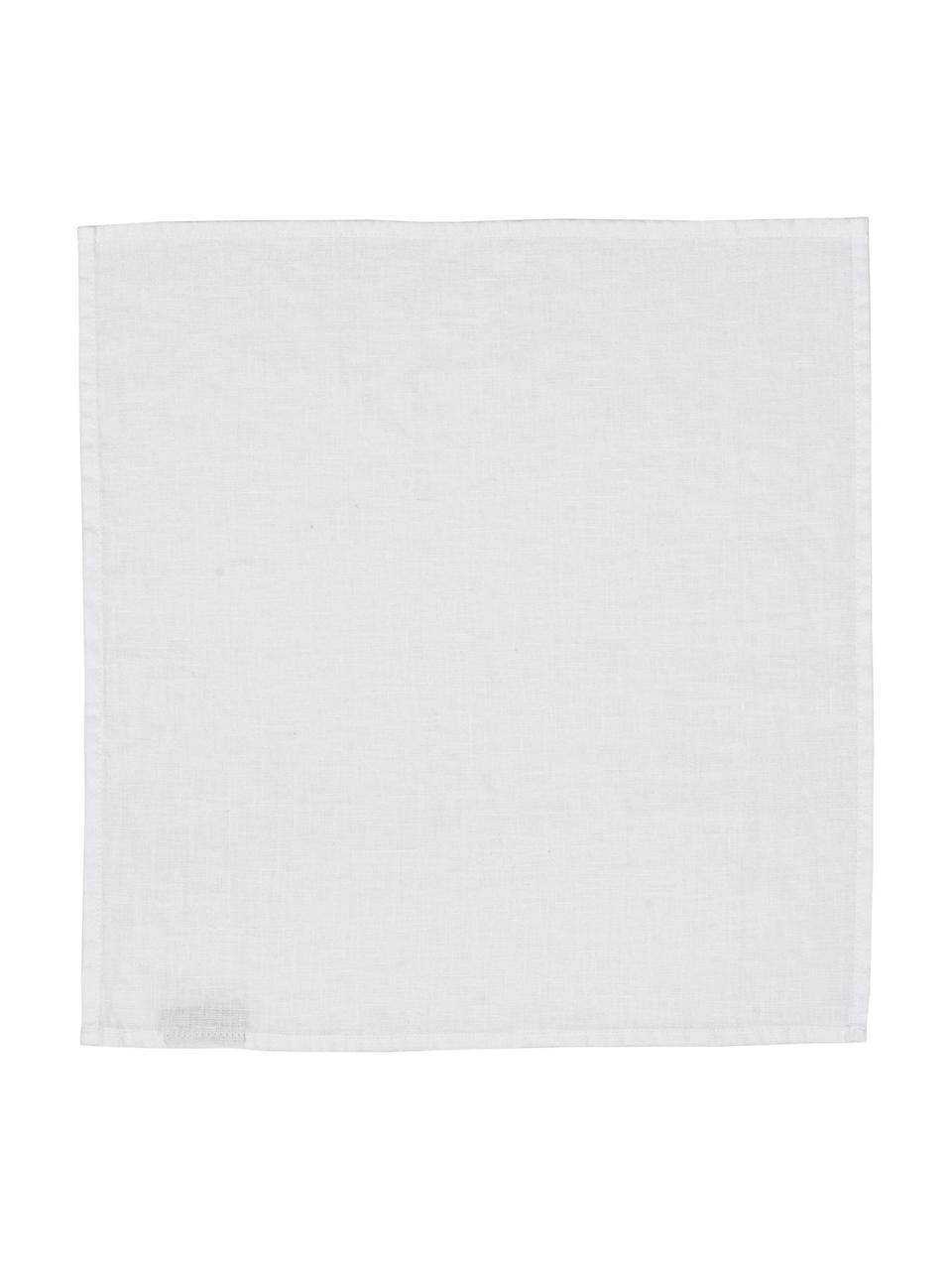 Serviettes de table pur lin Ruta, 6pièces, Blanc neige