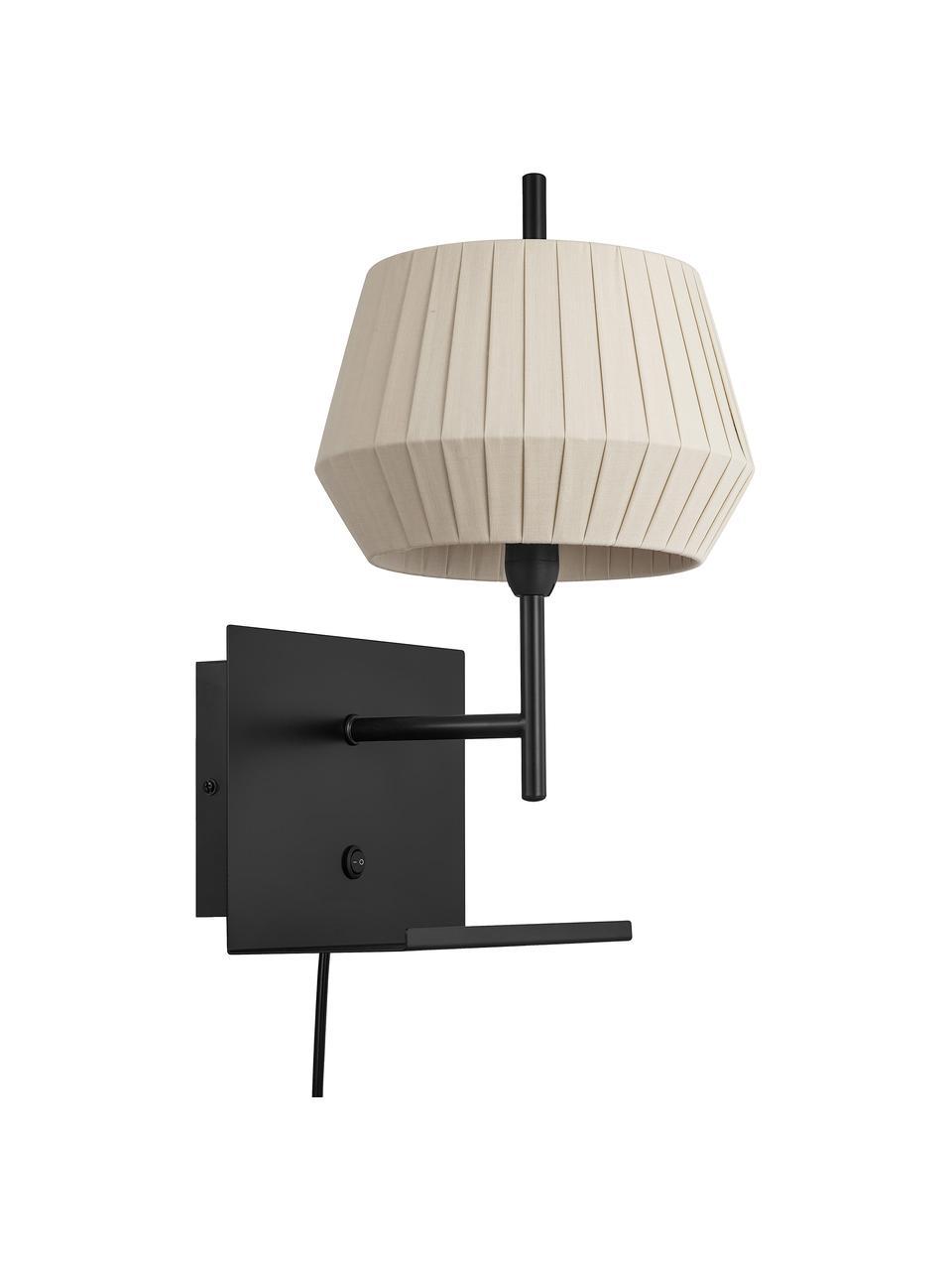 Klassische Wandleuchte Dicte mit Stecker, Lampenschirm: Stoff, Beige, Schwarz, 21 x 38 cm
