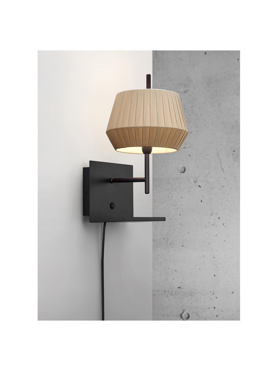 Wandlamp Dicte met stekker, Lampenkap: stof, Beige, zwart, 21 x 38 cm