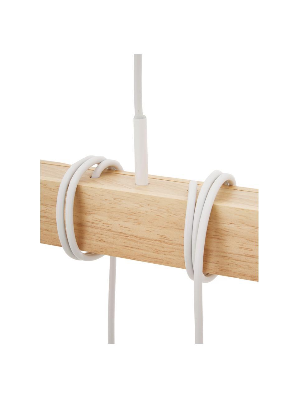 Lampada a sospensione in legno Townshend, Struttura: legno di albero della gom, Baldacchino: acciaio verniciato, Bianco, legno, Larg. 100 x Prof. 10 cm