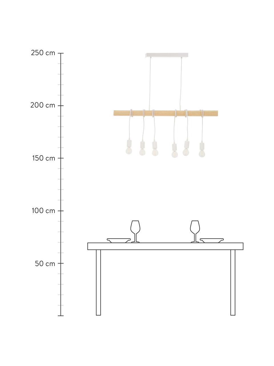 Lampa wisząca z drewna Townshend, Biały, drewno naturalne, S 100 x G 10 cm