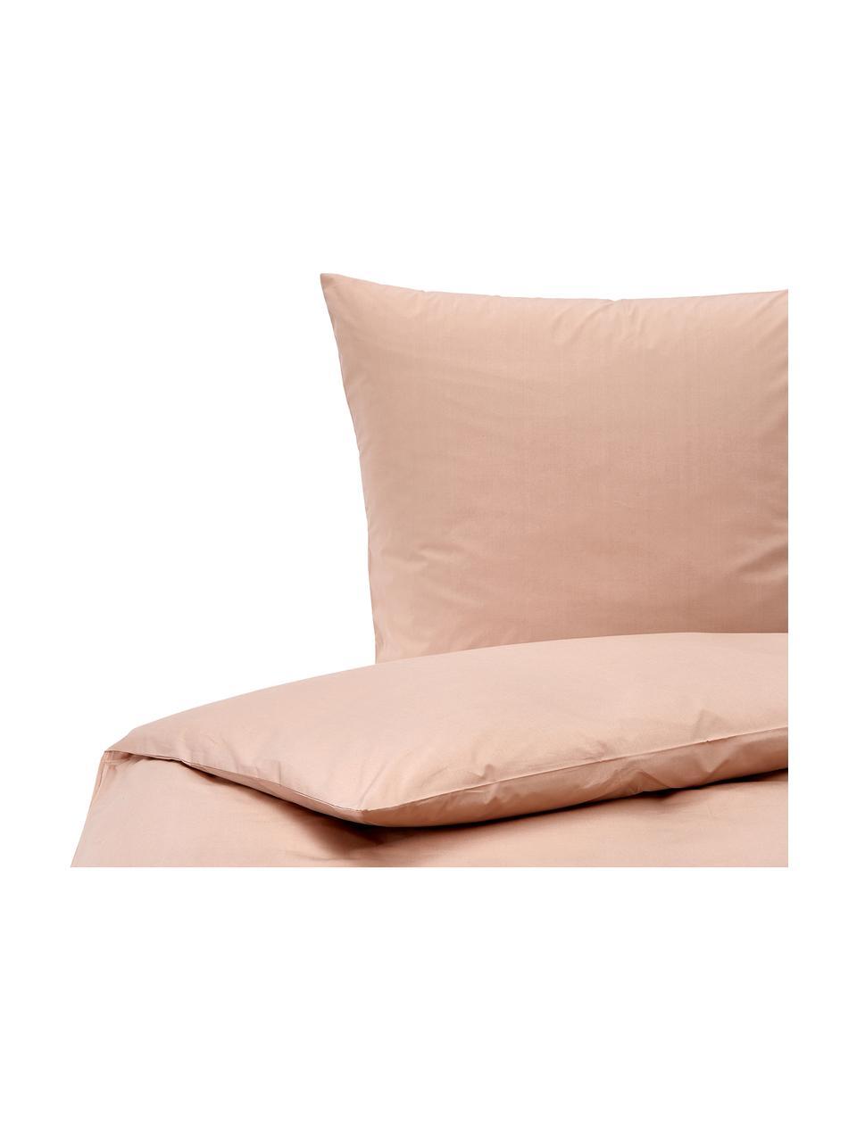 Pościel z perkalu Elsie, Blady różowy, 240 x 220 cm + 2 poduszki 80 x 80 cm