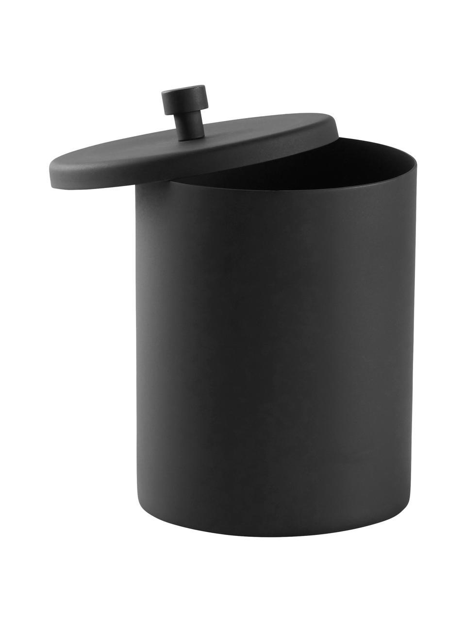 Aufbewahrungsdose Sasha, Metall, beschichtet, Schwarz, Ø 10 x H 14 cm