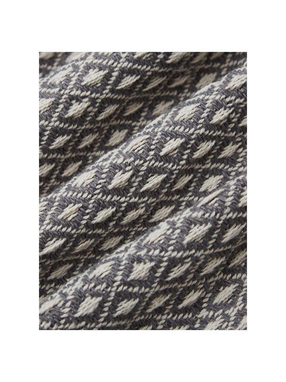 Gemustertes Plaid Lilano mit Pompoms, 100% Baumwolle, Beige, Grau, 130 x 150 cm