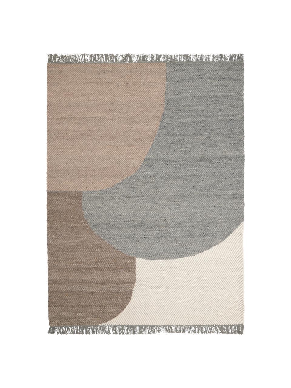Handgewebter Wollteppich Eik mit geometrischem Muster, Fransen: 100% Baumwolle Bei Wollte, Grau- und Beigetöne, B 200 x L 300 cm (Größe L)