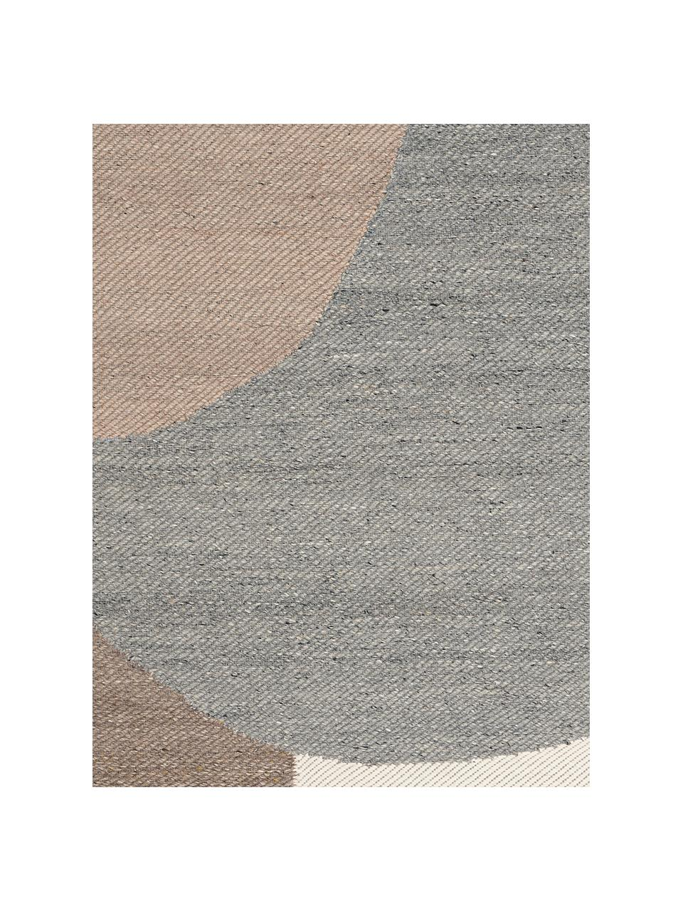 Handgeweven wollen vloerkleed Eik, Franjes: 100% katoen, Grijs- en beigetinten, B 200 x L 300 cm (maat L)
