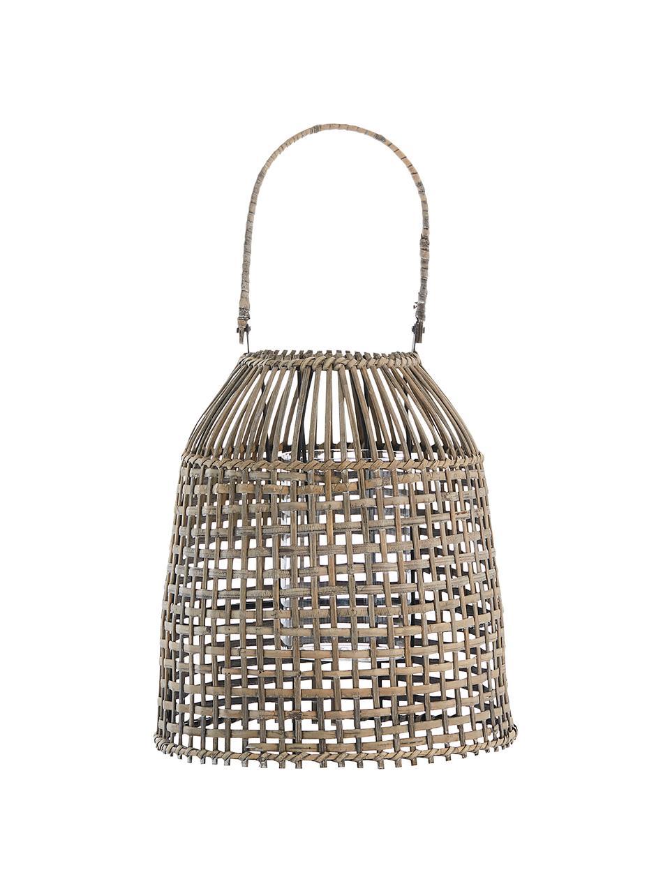Lanterna fatta a mano Hazel, Struttura: rattan, Beige, Ø 30 x Alt. 45 cm