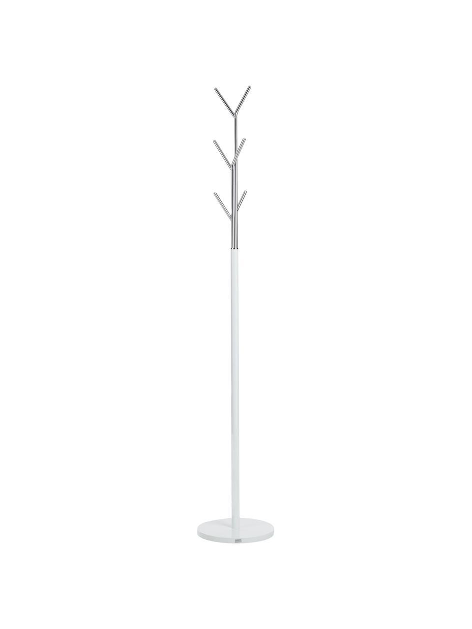 Appendiabiti London, Struttura: tubo di acciaio, vernicia, Bianco, cromo, Ø 31 x Alt. 177 cm