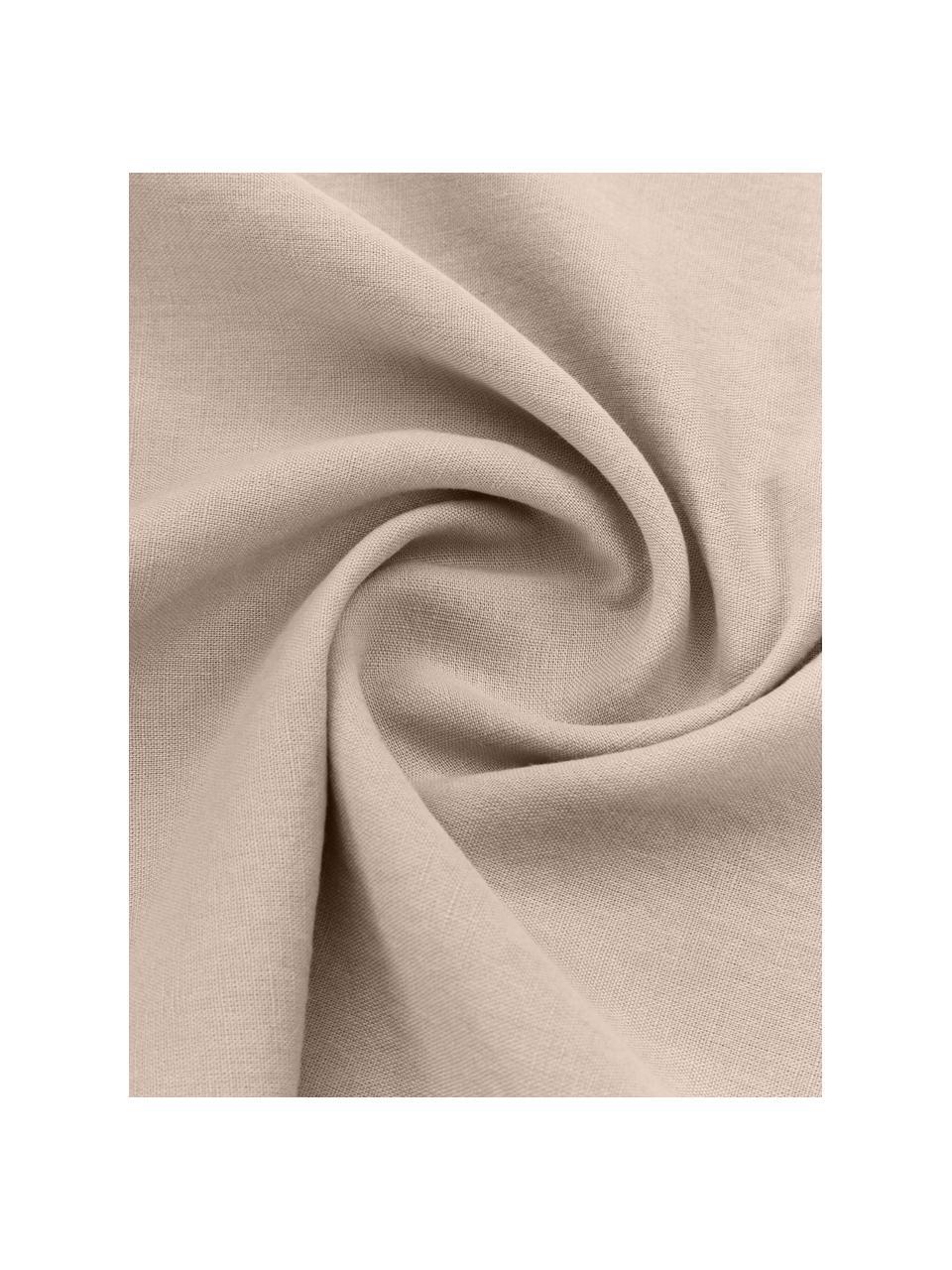 Pościel lniana z efektem sprania Nature, Beżowy, 240 x 220 cm + 2 poduszki 80 x 80 cm