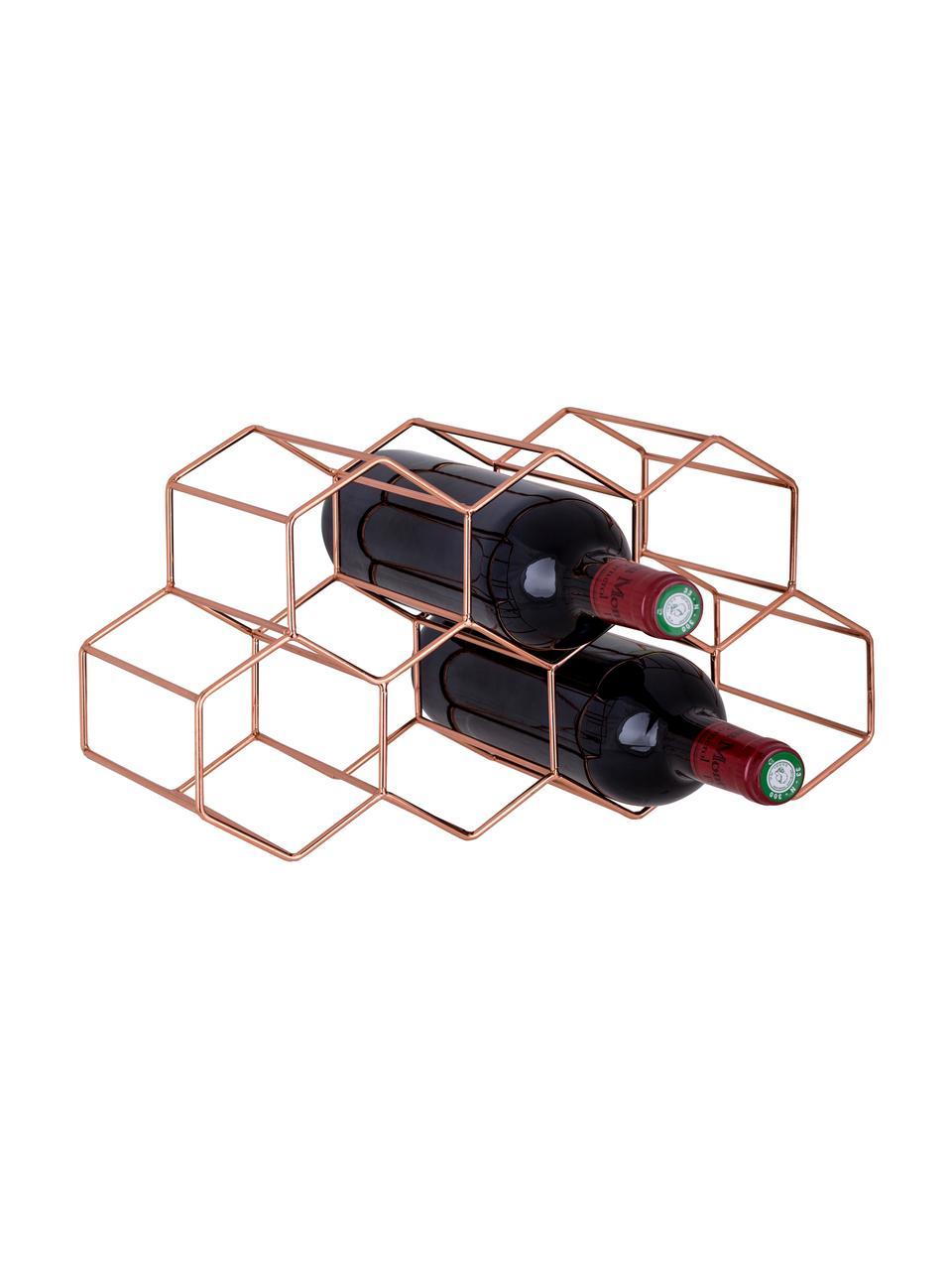 Stojak na wino na 7 butelek Hexagon, Miedź, Różowe złoto, S 37 x W 16 cm