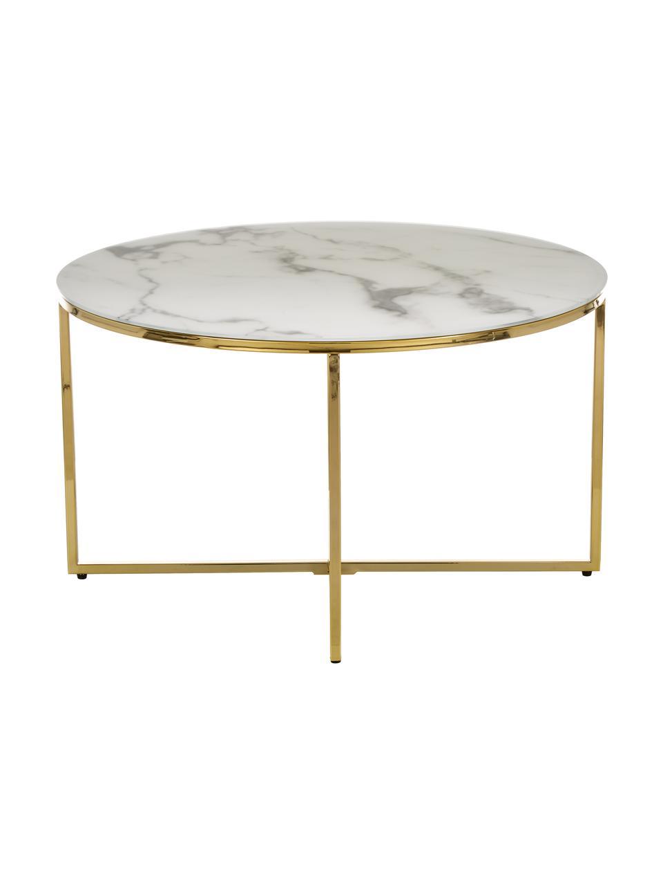 Konferenční stolek smramorovanou deskou Antigua, Deska stolu: bílá, mramorová Rám: mosazná