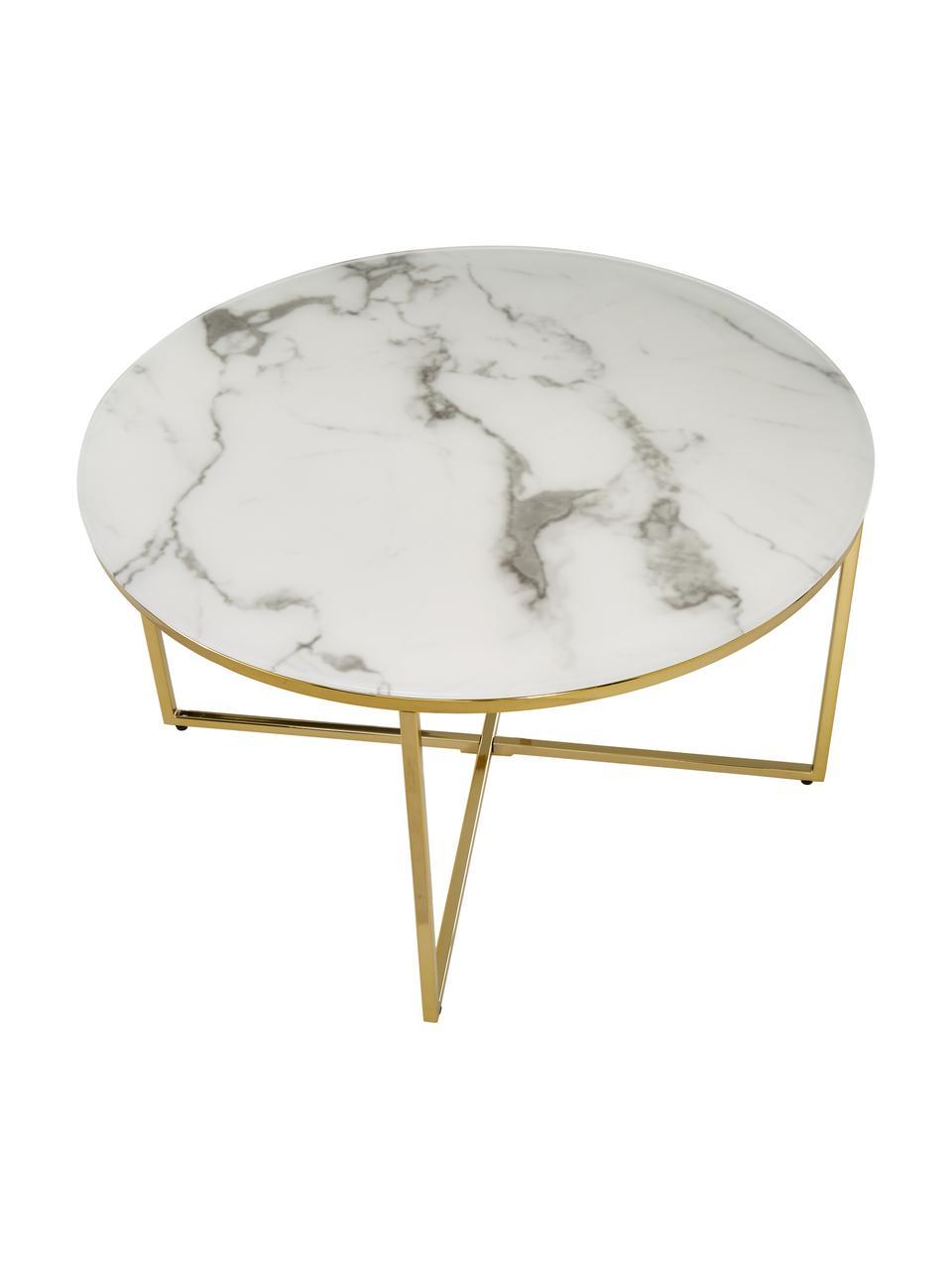 Couchtisch Antigua mit marmorierter Glasplatte, Tischplatte: Glas, matt bedruckt, Gestell: Metall, vermessingt, Weiss-grau marmoriert, Messing, Ø 80 x H 45 cm
