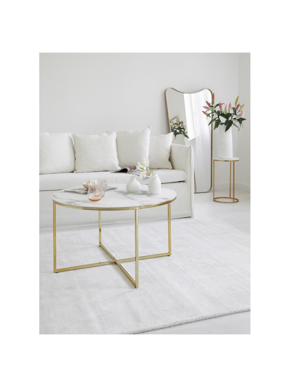 Table basse verre marbré Antigua, Plateau: blanc, marbré Structure: laiton