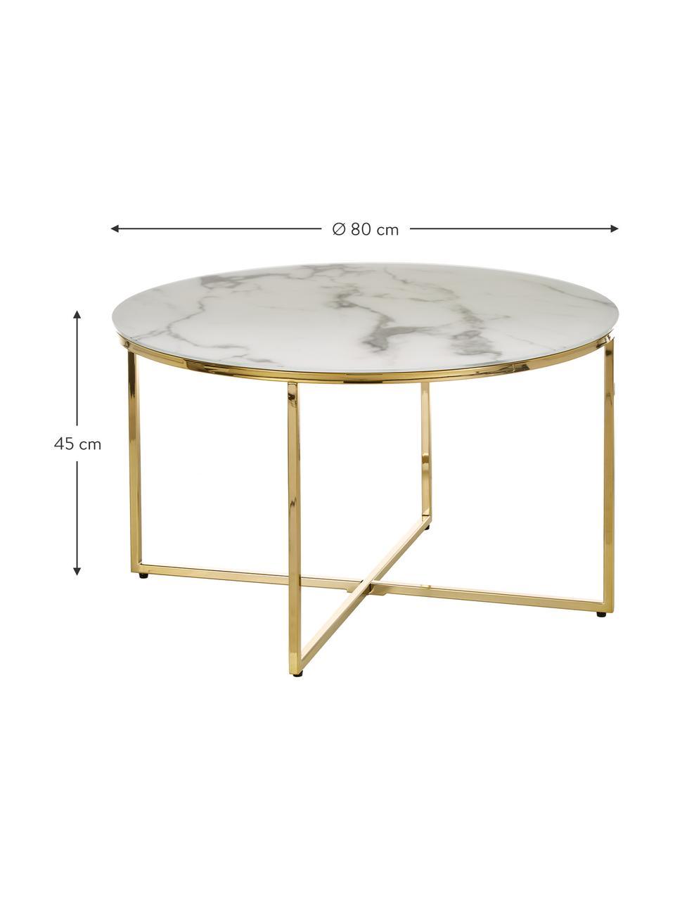 Couchtisch Antigua mit marmorierter Glasplatte, Tischplatte: Glas, matt bedruckt, Gestell: Metall, vermessingt, Tischplatte: Weiß, marmoriert Gestell: Messing, Ø 80 x H 45 cm