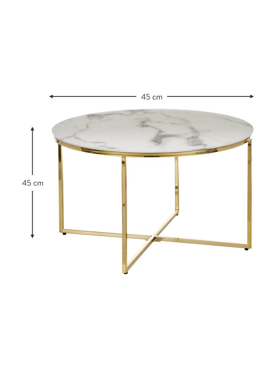 Couchtisch Antigua mit marmorierter Glasplatte, Tischplatte: Glas, matt bedruckt, Gestell: Metall, vermessingt, Weiß-grau marmoriert, Messing, Ø 80 x H 45 cm