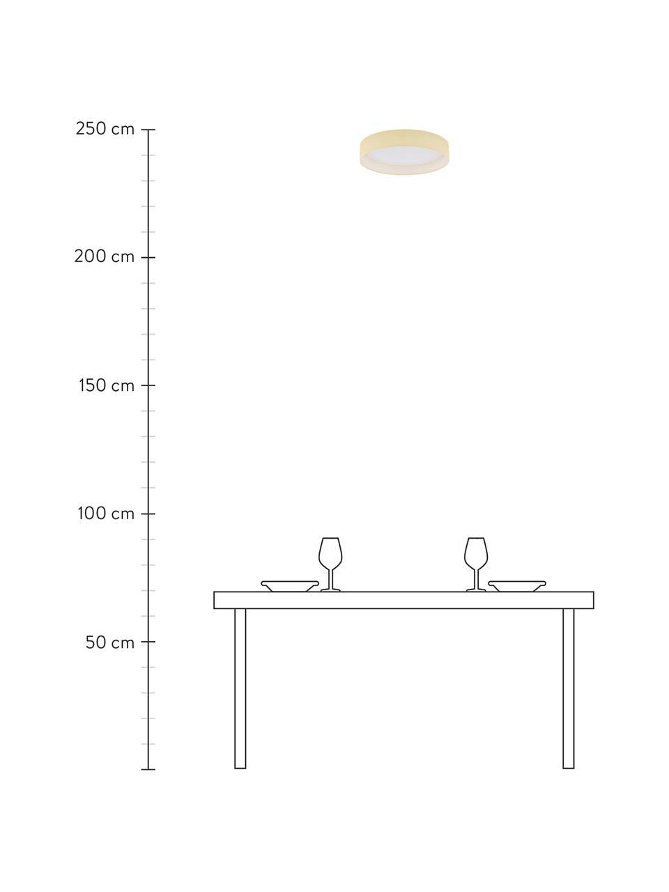 Plafoniera a LED Helen Nature, Paralume: tessuto, Struttura: metallo verniciato, Disco diffusore: materiale sintetico, Beige, Ø 52 x Alt. 11 cm