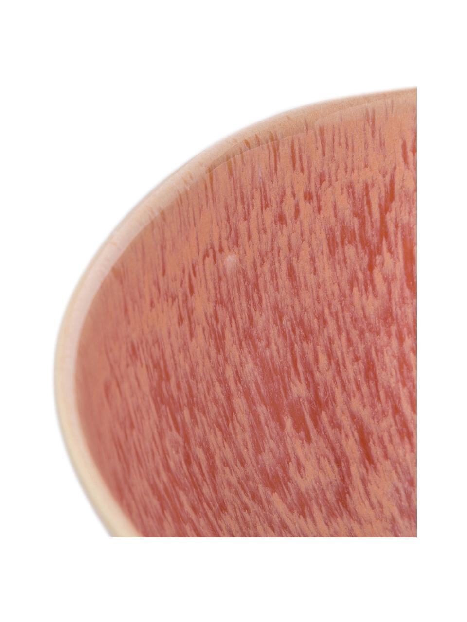 Ręcznie malowana misa do sałatek Areia, Kamionka, Odcienie czerwonego, złamana biel, jasny beżowy, Ø 26 x W 12 cm