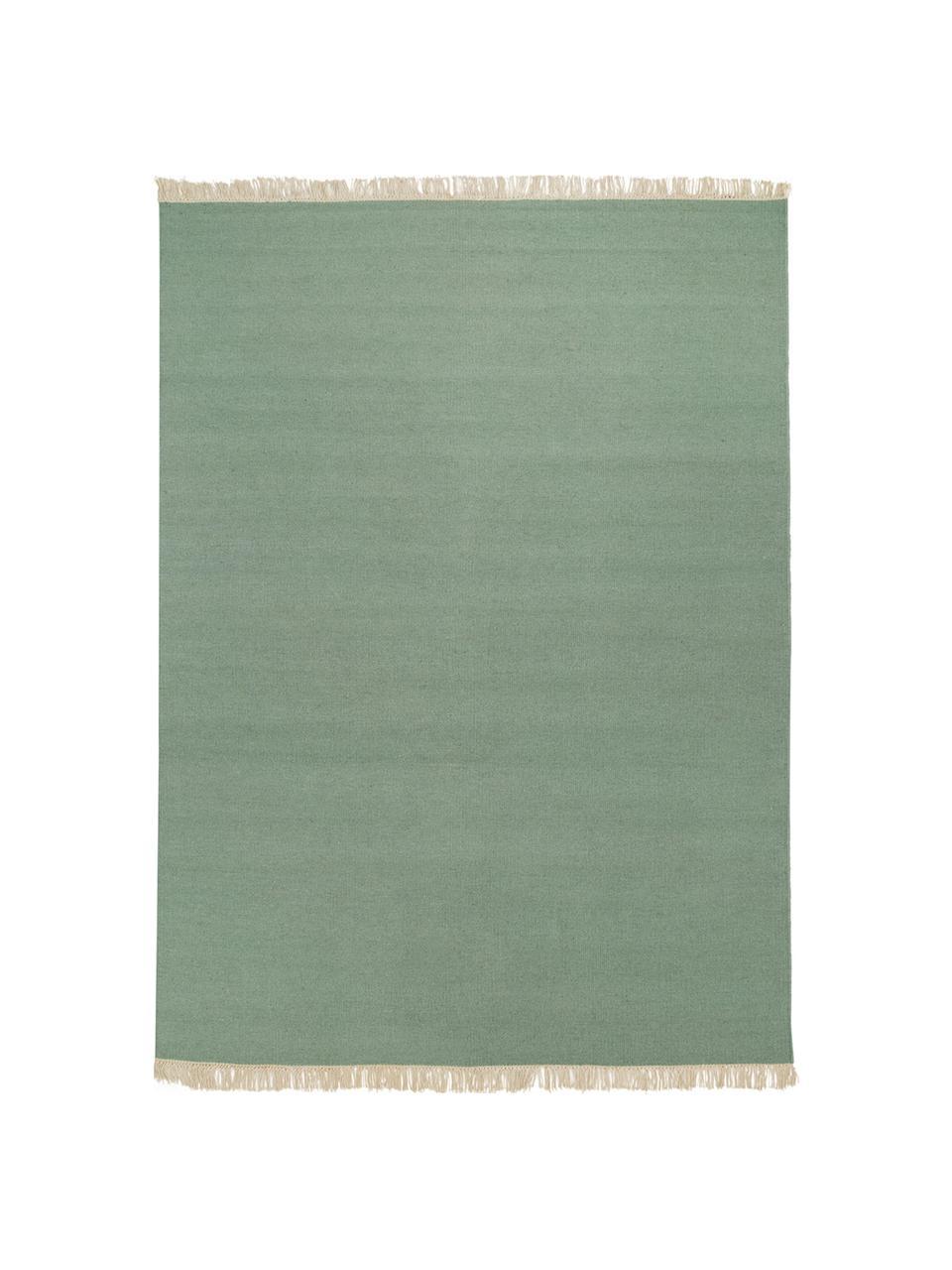 Handgeweven wollen vloerkleed Rainbow in groen met franjes, Franjes: 100% katoen, Pistachegroen, B 140 x L 200 cm (maat S)