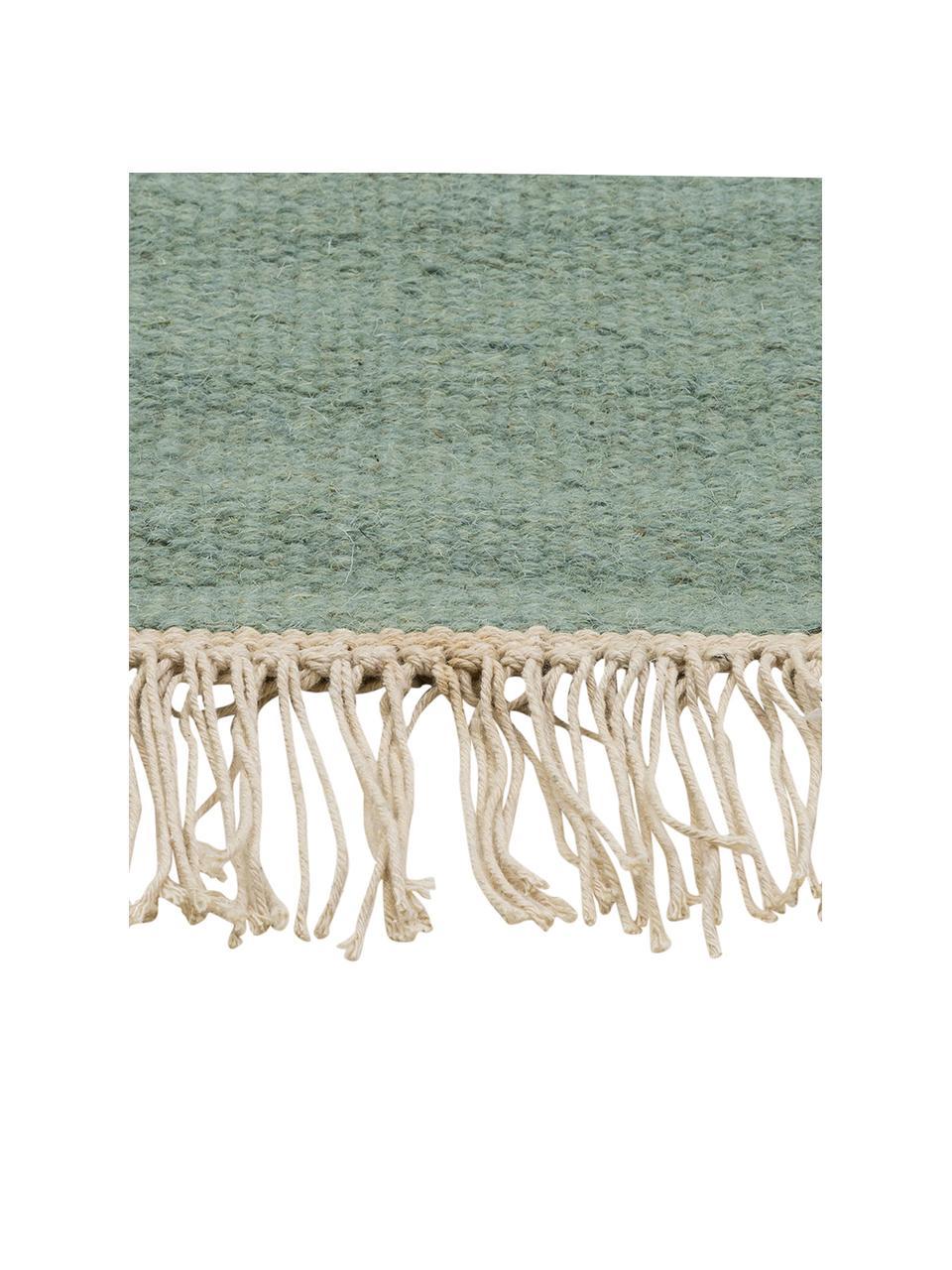 Tappeto in lana verde tessuto a mano con frange Rainbow, Frange: 100% cotone Nel caso dei , Verde pistacchio, Larg. 170 x Lung. 240 cm  (taglia M)