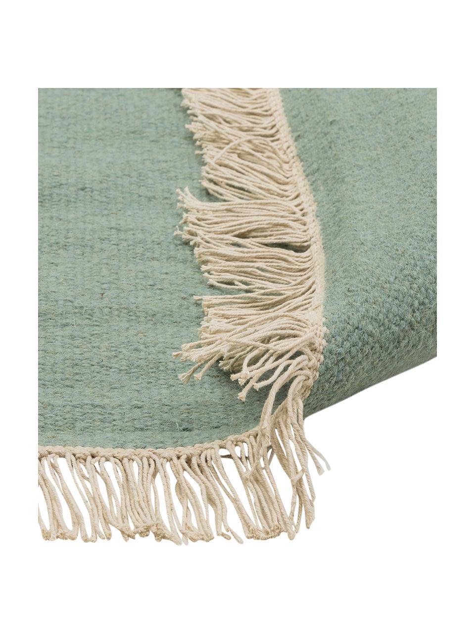 Ręcznie tkany dywan kilim z wełny z frędzlami Rainbow, Pistacjowy, S 170 x D 240 cm (Rozmiar M)