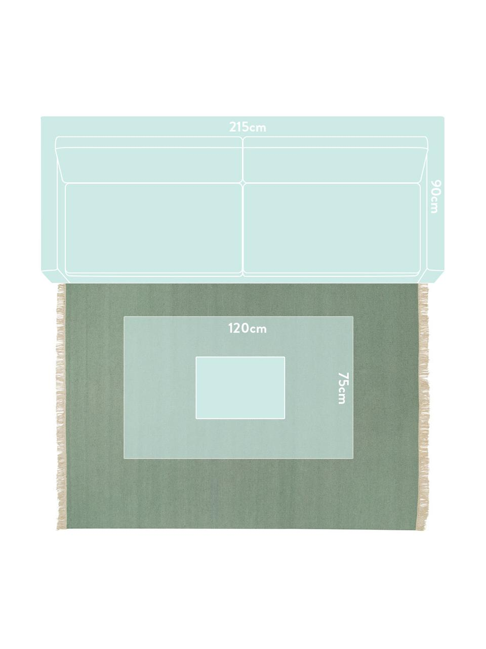 Handgewebter Kelimteppich Rainbow in Grün mit Fransen, Fransen: 100% Baumwolle Bei Wollte, Pistaziengrün, B 140 x L 200 cm (Größe S)