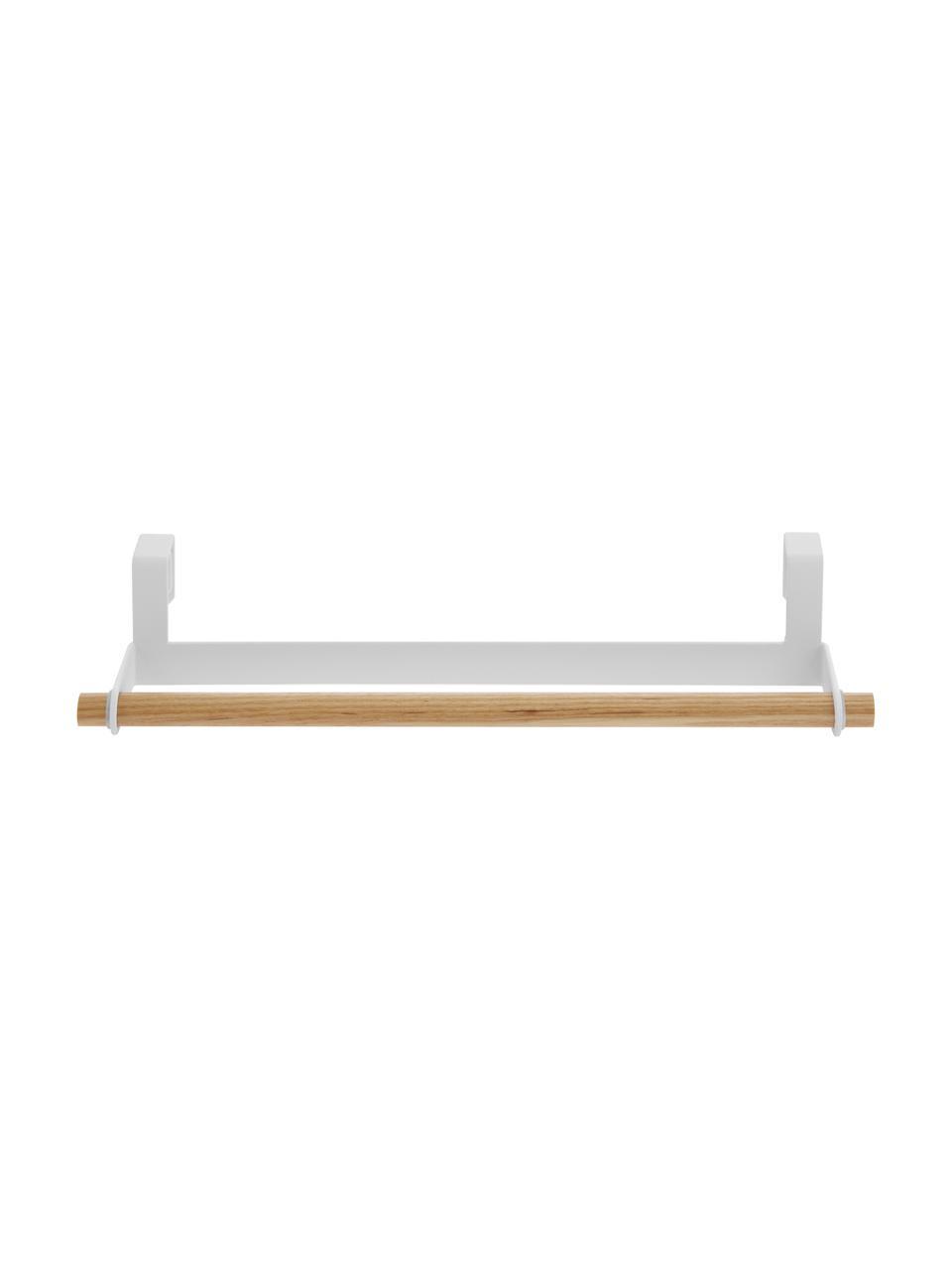 Handtuchhalter Tosca, Halter: Stahl, beschichtet, Stange: Holz, Weiß, Holz, 33 x 6 cm