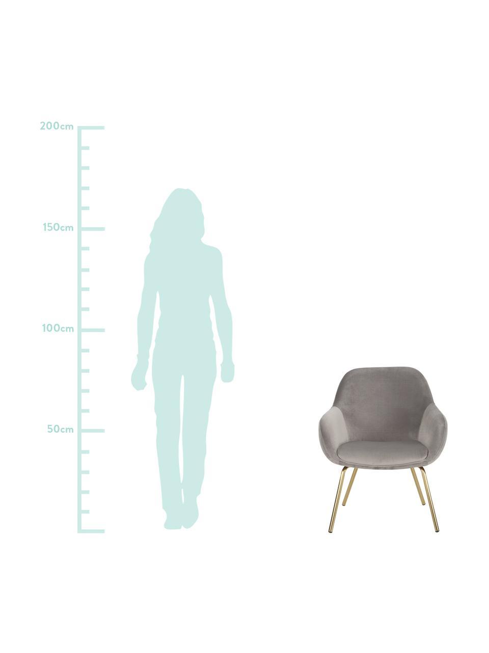 Samt-Cocktailsessel Jana in Grau, Bezug: Samt (Polyester) Der hoch, Beine: Metall, pulverbeschichtet, Samt Grau, B 72 x T 68 cm