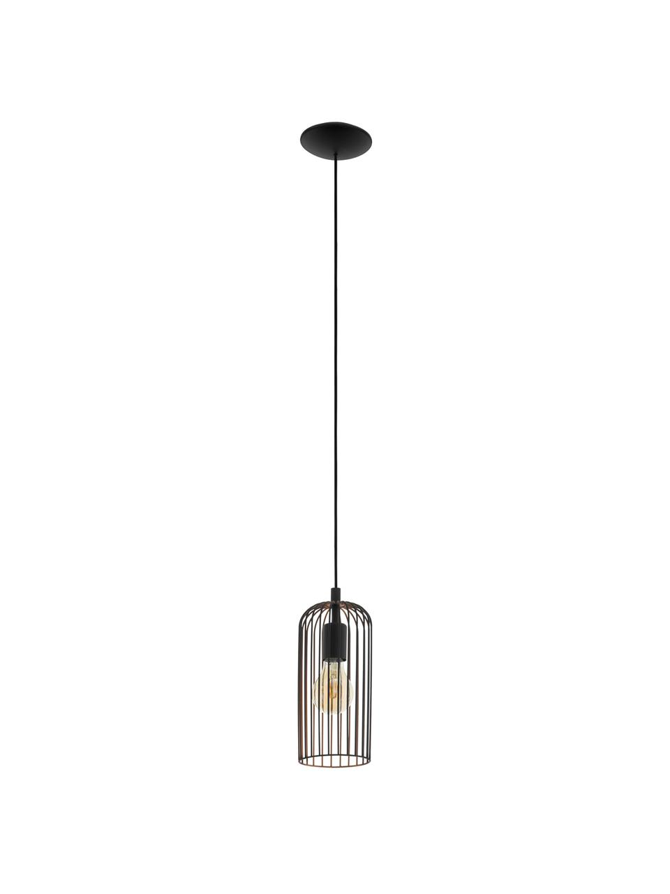 Kleine Pendelleuchte Roccamena, Lampenschirm: Stahl, lackiert, Baldachin: Stahl, lackiert, Schwarz, Ø 13 x H 30 cm
