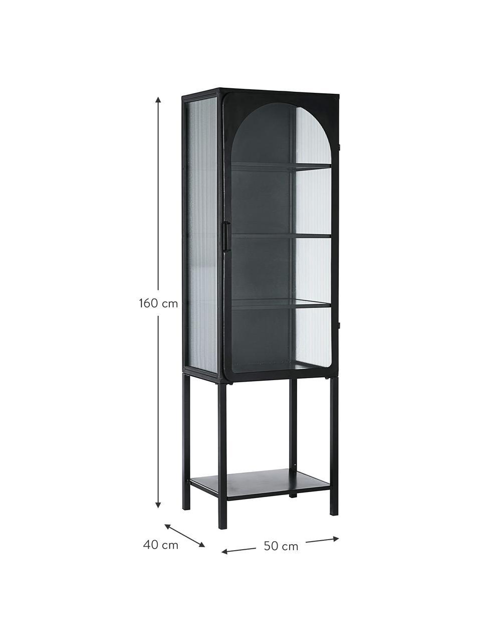 Vetrina alta nera in metallo Nerissa, Struttura: metallo epossidico e vern, Nero trasparente, Larg. 50 x Alt. 160 cm