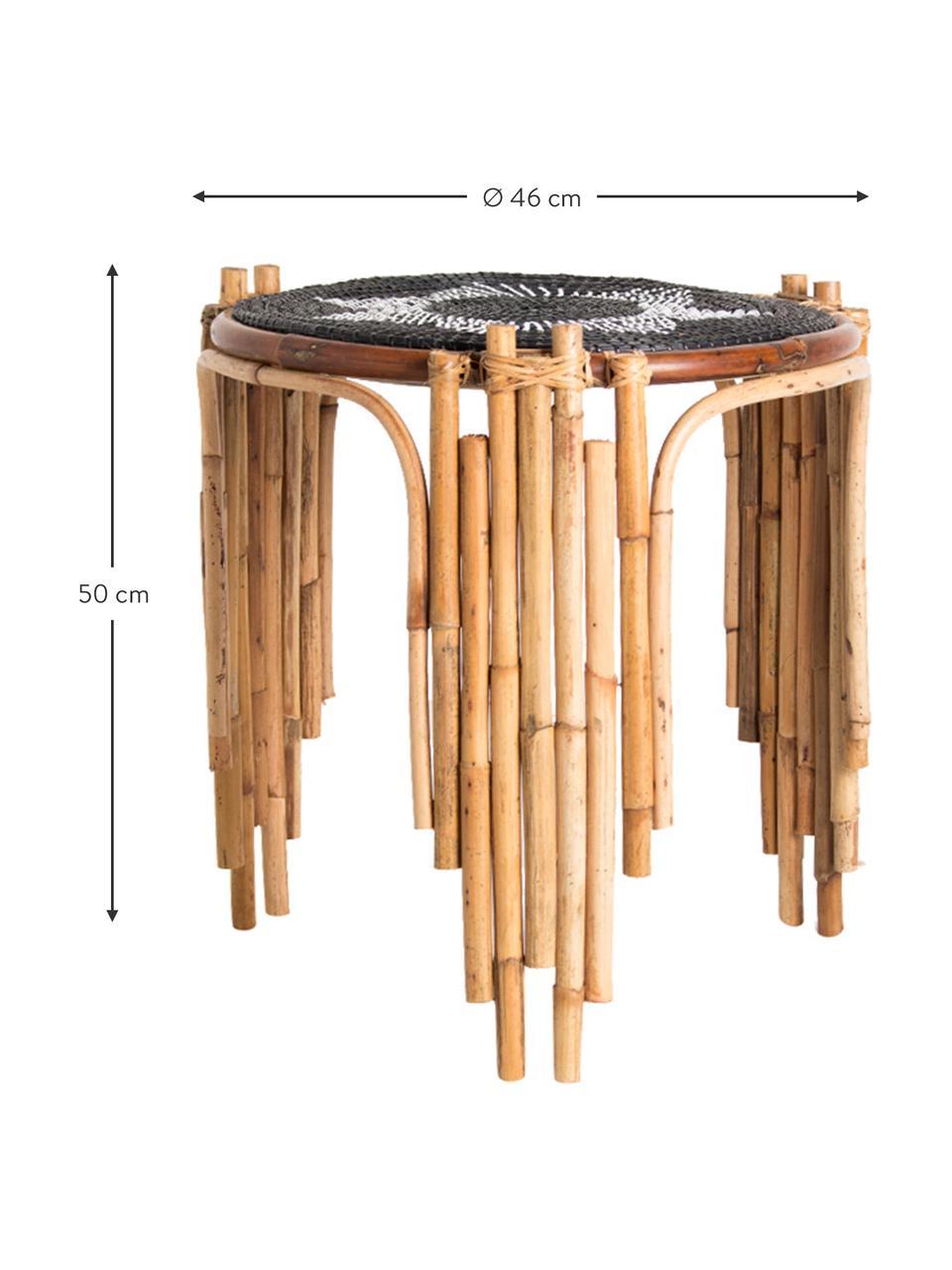 Tavolino in rattan beige/nero Odile, Gambe: rattan, Beige, nero, Ø 46 x Alt. 50 cm