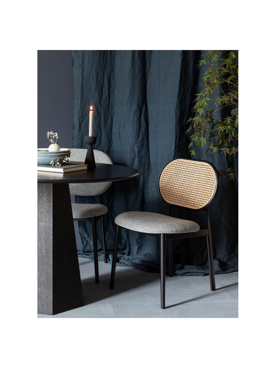Krzesło tapicerowane z plecionką wiedeńską Spike, Tapicerka: 100% poliester Dzięki tka, Nogi: stal malowana proszkowo Z, Szary, czarny, beżowy, S 46 x G 58 cm