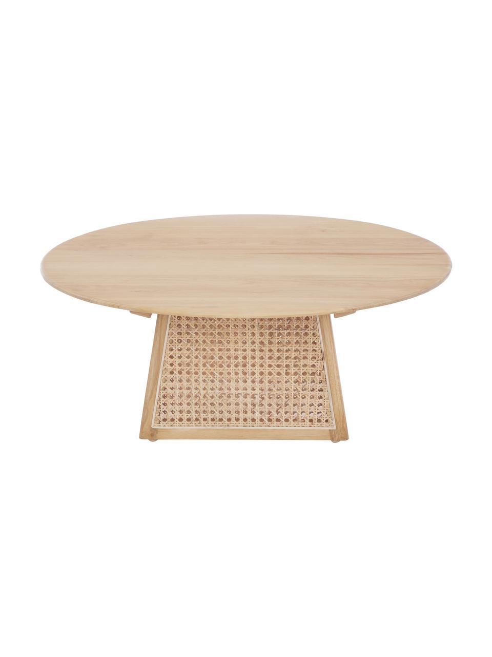 Ronde salontafel Retro met Weens vlechtwerk, Sunkai hout, Ø 80 x H 30 cm