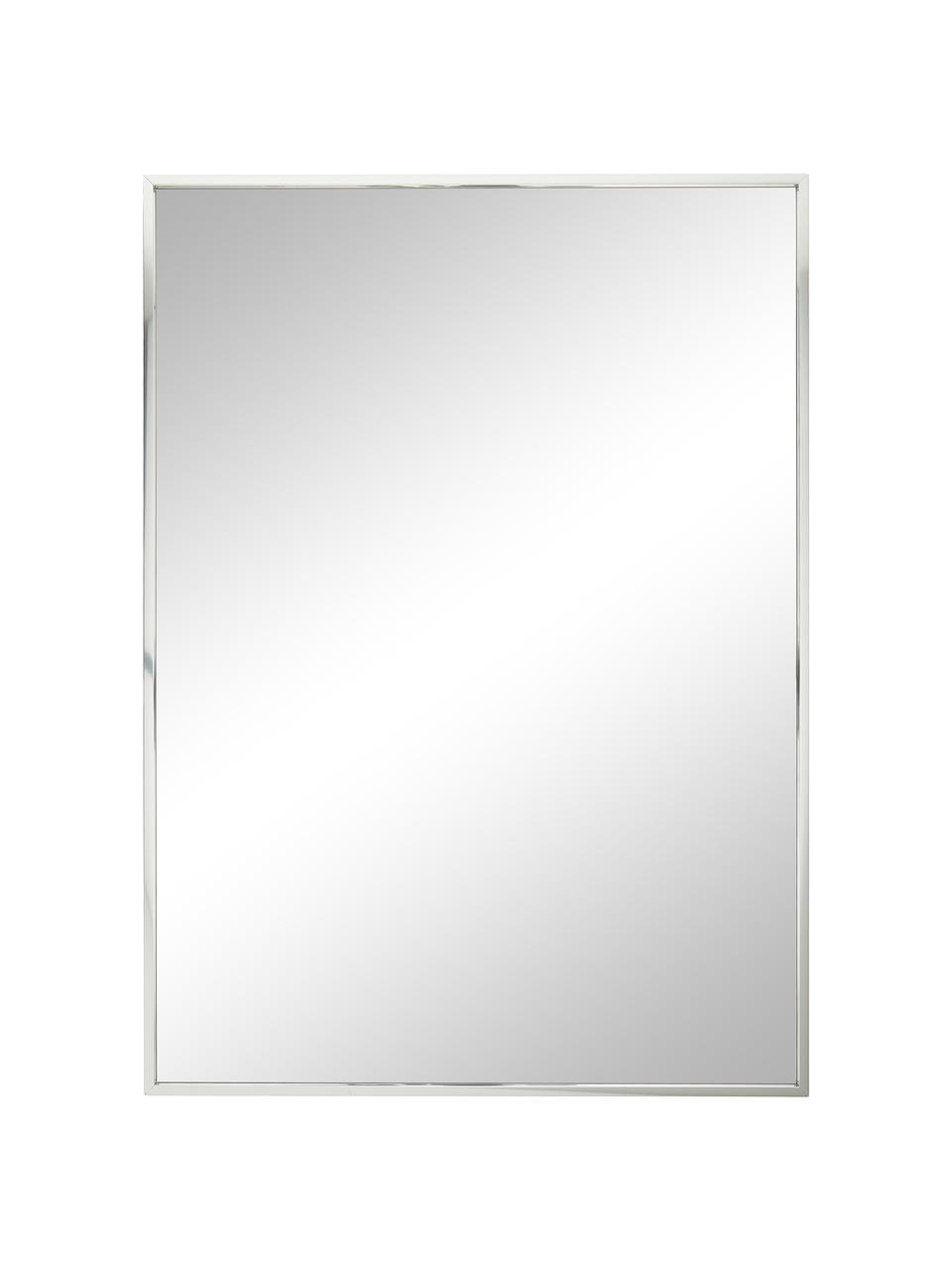 Eckiger Wandspiegel Alpha mit Silberrahmen, Rahmen: Aluminium, Spiegelfläche: Spiegelglas, Aluminium, 50 x 70 cm