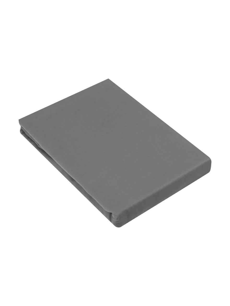 Lenzuolo con angoli in raso di cotone grigio scuro Comfort, Grigio scuro, Larg. 200 x Lung. 200 cm