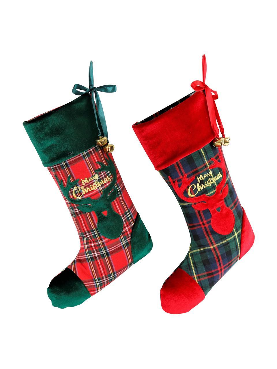 Komplet dekoracji Merry Christmas, 2 elem., Poliester, bawełna, Zielony, czerwony, czarny, S 26 x D 47 cm
