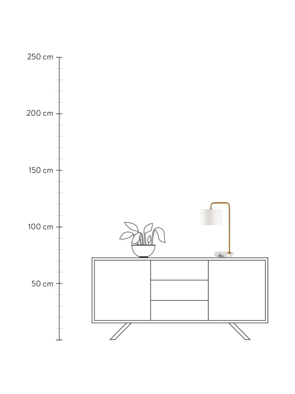 Lampada da tavolo con base in marmo Montreal, Paralume: tessuto, Base della lampada: marmo, Struttura: metallo zincato, Bianco, dorato, Ø 20 x Alt. 49 cm