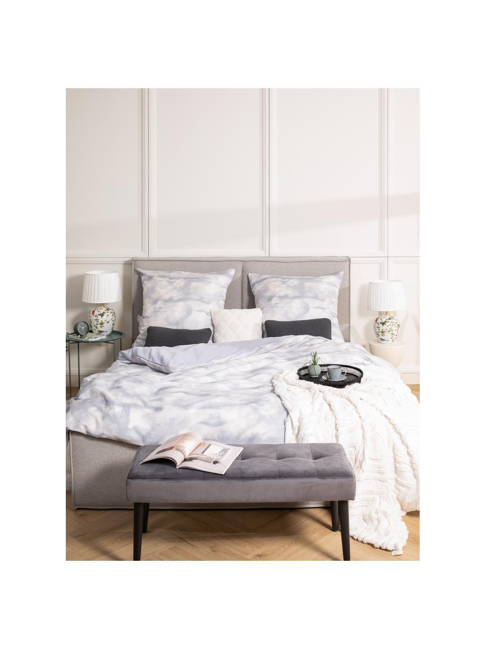 Fluwelen bank Glory, Bekleding: polyester fluweel, Frame: gepoedercoat metaal, Donkergrijs, zwart, 95 x 45 cm