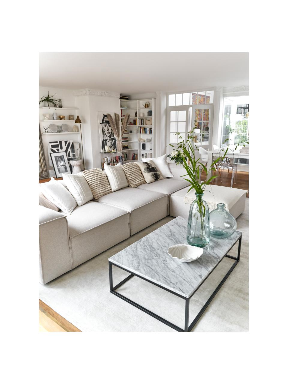 Tavolino da salotto in marmo Alys, Piano d'appoggio: pietra naturale di marmo, Struttura: metallo verniciato a polv, Marmo bianco, nero, Larg. 120 x Alt. 35 cm