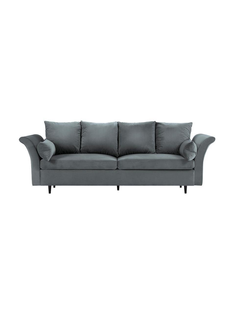 Sofa z aksamitu z funkcją spania i miejscem do przechowywania Lola (3-osobowa), Tapicerka: aksamit poliestrowy Dzięk, Nogi: drewno sosnowe, lakierowa, Ciemny szary, S 245 x G 95 cm