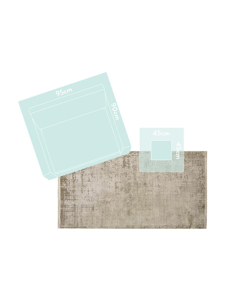 Tappeto vintage con frange effetto lucido Cordoba, Retro: cotone, Tonalità beige, Larg. 240 x Lung. 340 cm (taglia XL)