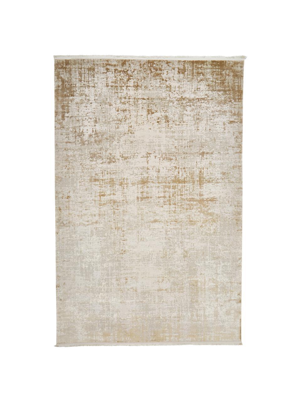 Tappeto vintage tonalità beige effetto lucido con frange Cordoba, Retro: 100% cotone, Tonalità beige, Larg. 130 x Lung. 190 cm (taglia S)