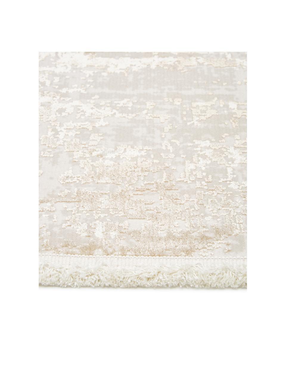 Glanzend vloerkleed Cordoba in beigetinten met franjes, vintage stijl, Bovenzijde: 70% acryl, 30% viscose, Onderzijde: 100% katoen, Beigetinten, B 240 x L 340 cm (Maat XL)