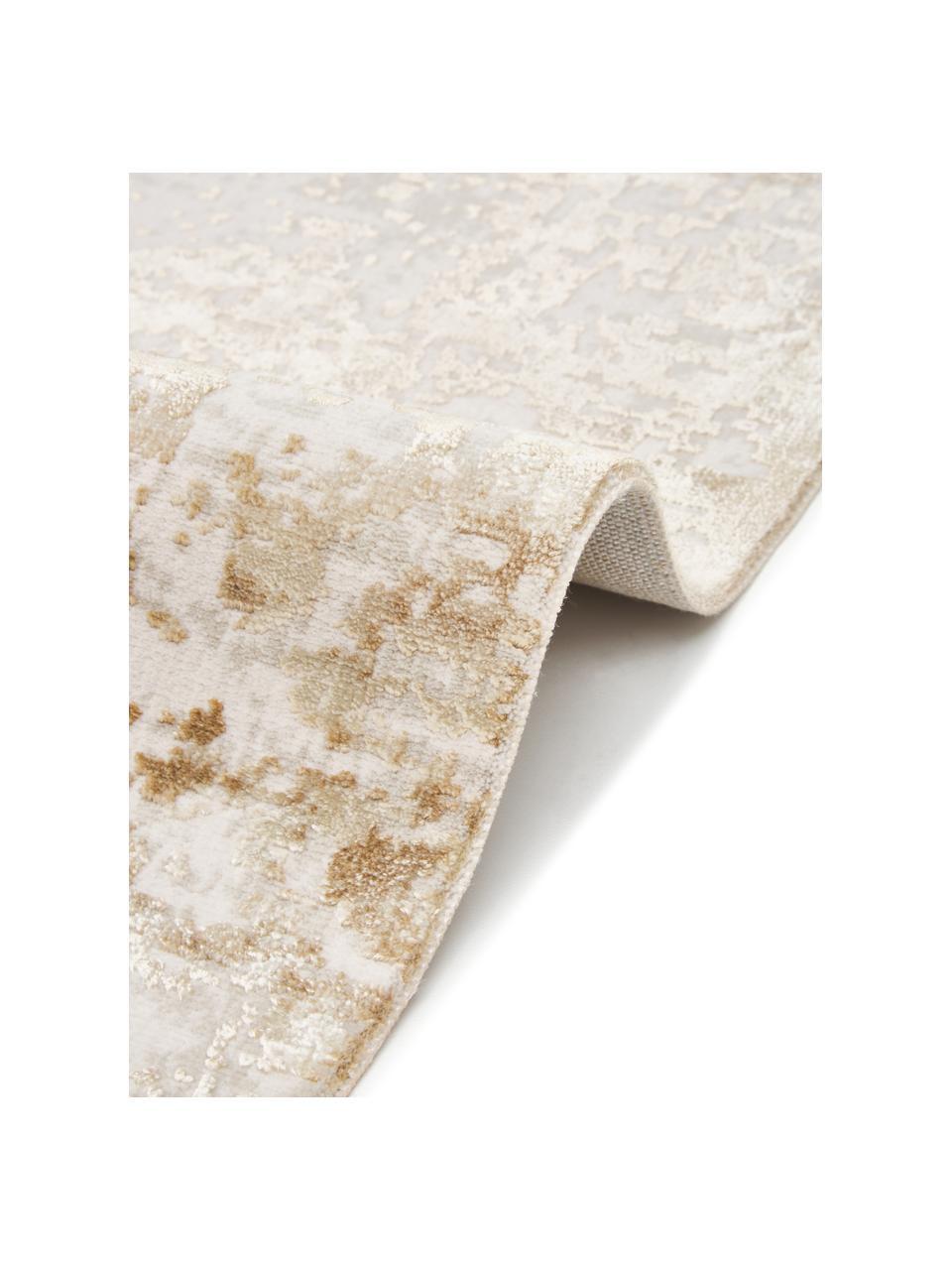 Glanzend vloerkleed Cordoba in beigetinten met franjes, vintage stijl, Bovenzijde: 70% acryl, 30% viscose, Onderzijde: 100% katoen, Beigetinten, B 130 x L 190 cm (maat S)