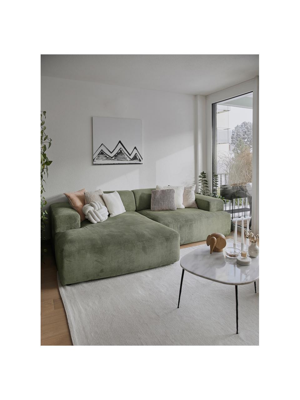 Canapé d'angle 3places velours côtelé vert Melva, Velours côtelé vert