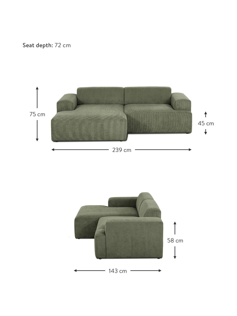 Sofa narożna ze sztruksu Melva (3-osobowa), Tapicerka: sztruks (92% poliester, 8, Stelaż: lite drewno sosnowe, cert, Nogi: tworzywo sztuczne, Sztruksowy zielony, S 239 x G 143 cm