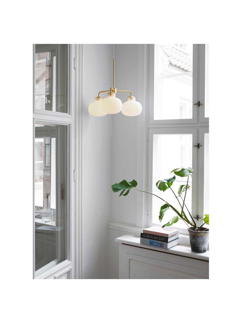 Pendelleuchte Raito aus Glas, Lampenschirm: Opalglas, Dekor: Metall, Baldachin: Kunststoff, Opalweiß, Messingfarben, Ø 57 x H 55 cm